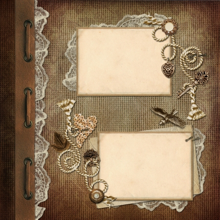 scrapbooking: Vintage background with frames with space for photo or text Stock Photo