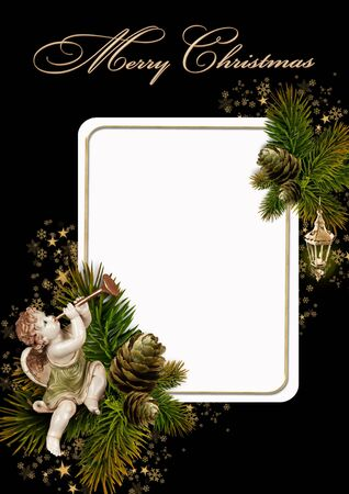 candelabrum: Christmas greeting card  Stock Photo