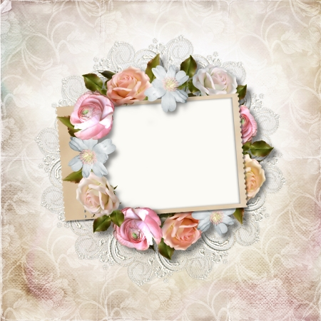 vintage photo album: Vintage background with stamp-frame and flowers