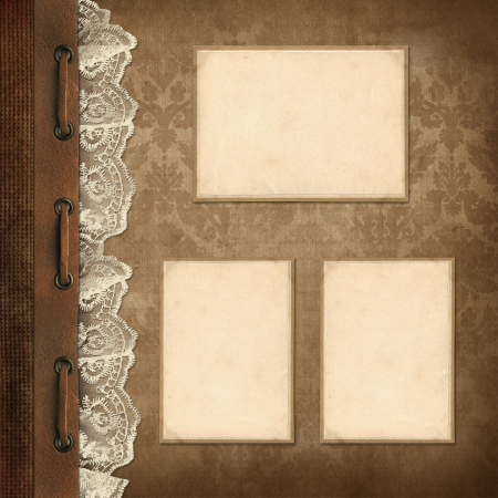 photo album page: Vintage background, page family album  Stock Photo
