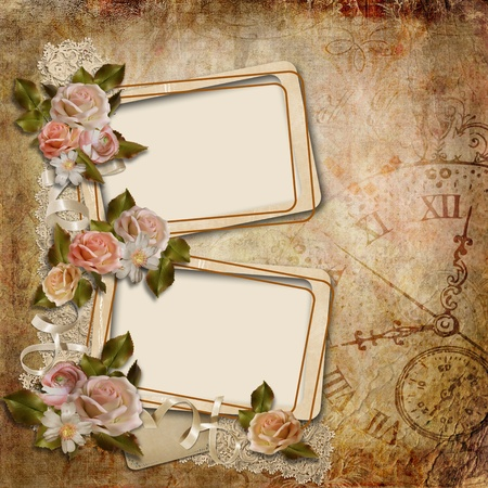 Vintage background with frames and roses  photo