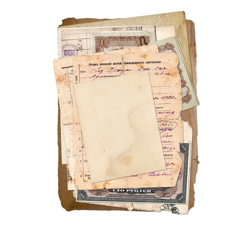 old envelope: Old archive on the white isolated background  Stock Photo
