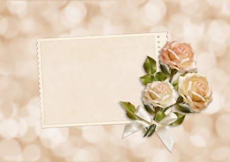 with space for text: Frame with roses for congratulations and invitations with space for photo or text
