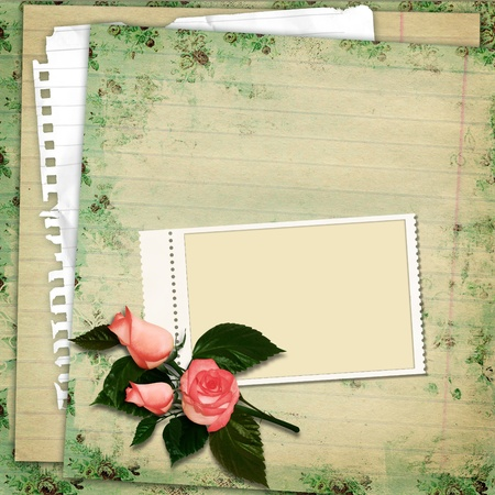 photo album page: Stamp-frame on vintage background with roses  Stock Photo