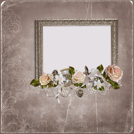 Vintage background with frame for congratulations and invitations with space for photo or text  photo