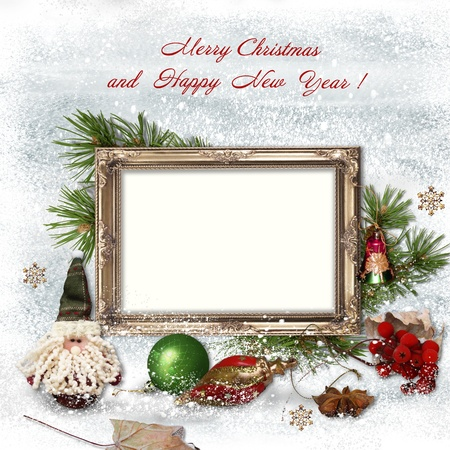 Christmas Greeting Card With Frames For A Family Stock Photo