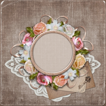victorian anniversary: Vintage background with frame and flowers