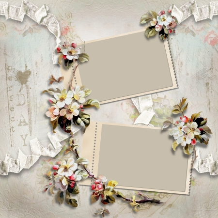 Vintage background with frames and flowers  photo