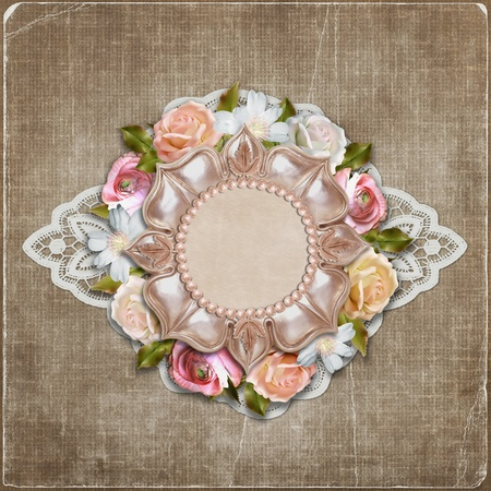 Vintage background with retro frame and flowers  photo