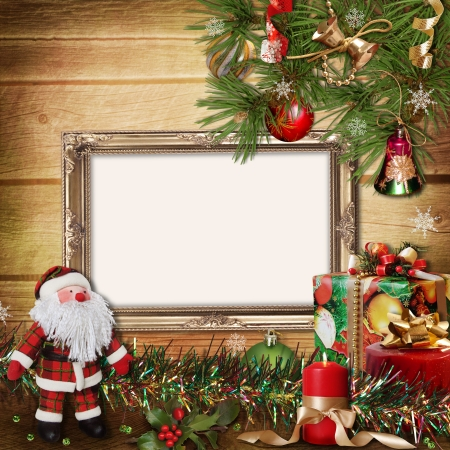 Christmas greeting card with frames for a family  photo