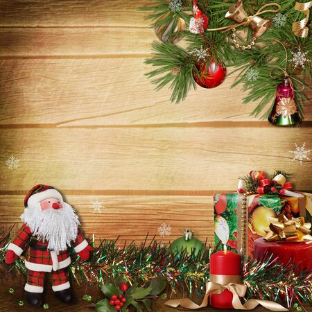 greeting season: Christmas scene on a wooden background