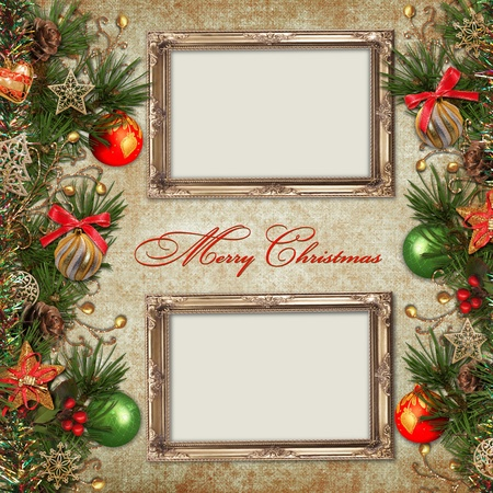vintage christmas background: Vintage Christmas background with frame