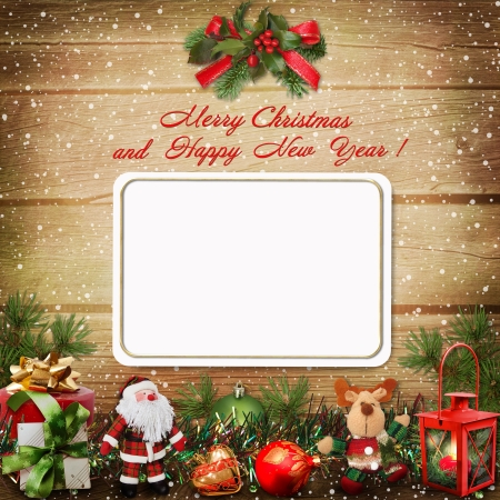 Christmas greeting card with space for photo or text Stock Photo - 16879066