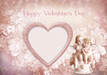 Vintage valentine background with frame and angels photo