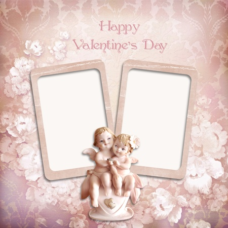 Vintage valentine background with frames and angels photo