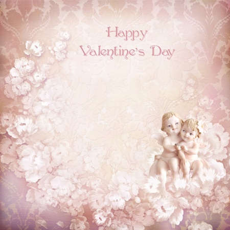 Vintage valentine background with angels photo