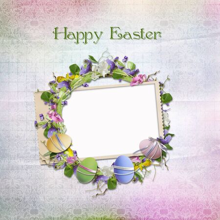 Easter card for congratulations with frame photo