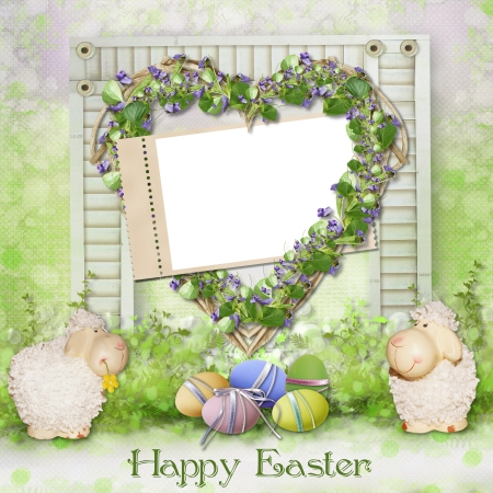 Easter greeting card with frame photo