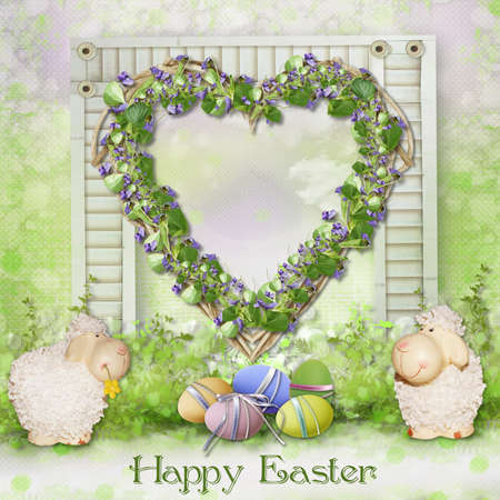 Easter background for congratulations photo