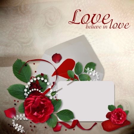 feelings and emotions: Greeting card with roses and hearts Stock Photo