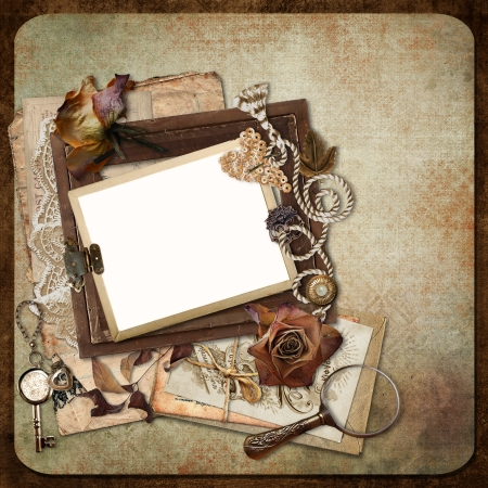 photo album: Vintage background with old frames, letters and cards Stock Photo