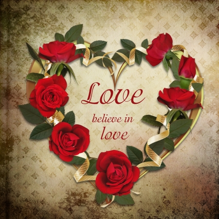 Wreath of roses on a vintage background photo