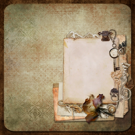old photo album: Vintage background with old frames, letters and cards Stock Photo