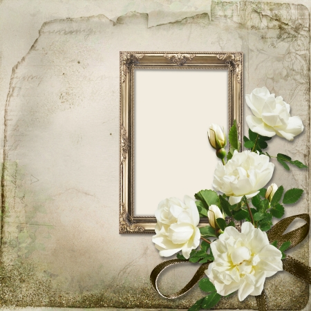 Vintage background with frame and bunch of roses Imagens