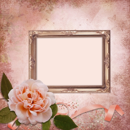wedding photo frame: Frame with a rose on a vintage background