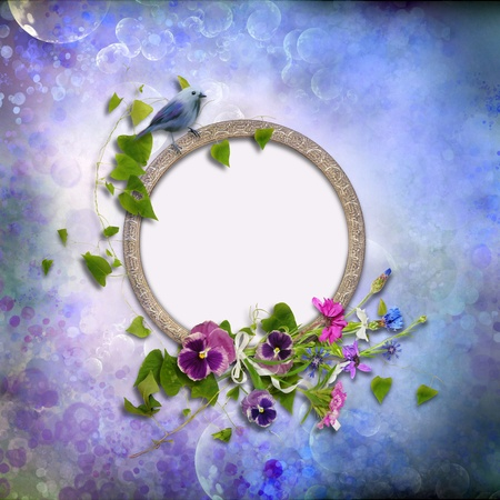 Frame with flowers and a bird on a vintage background photo