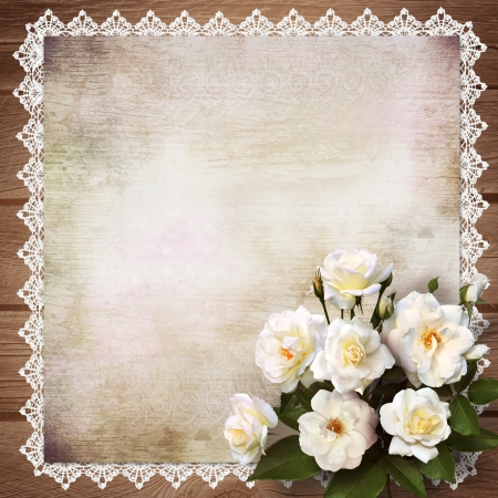 wedding photo album: Bouquet of roses on a vintage background
