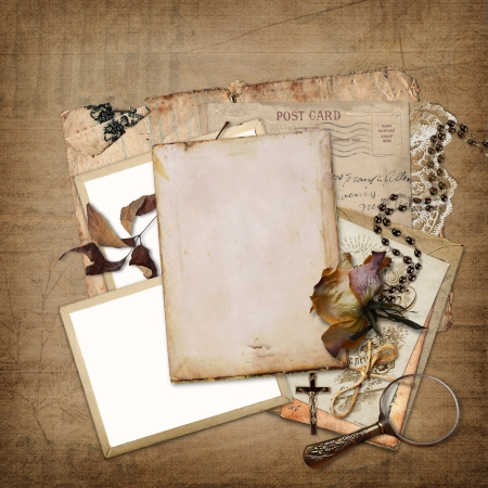 Vintage background with frame, roses and letters  photo