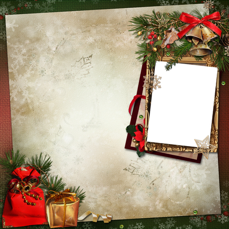 Frame with Christmas decorations on a vintage background photo