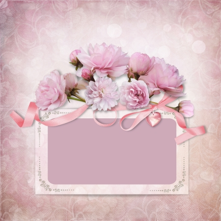 Vintage elegance background with frame and roses photo