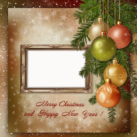Christmas greeting card with frame for a family photo