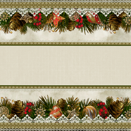 Borders of Christmas decorations with lace on vintage background photo