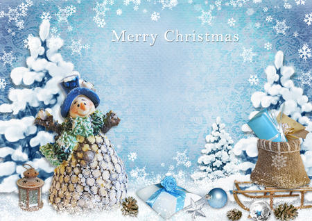 Christmas background with snowman and gifts photo