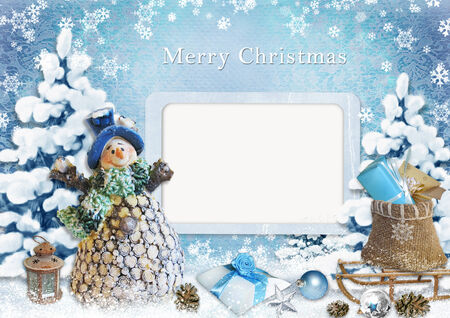 Christmas greeting card with frame  photo