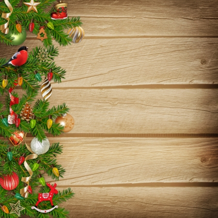 Christmas miraculous garland on a wooden background photo