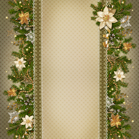 old victorian letter: Christmas miraculous garland on vintage background