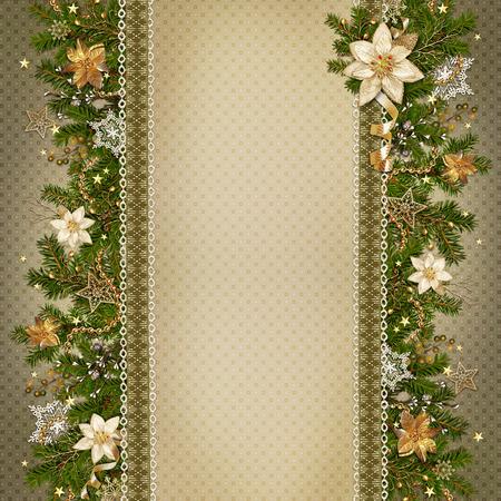 Guirlande de Noël sur fond vintage miraculeuse