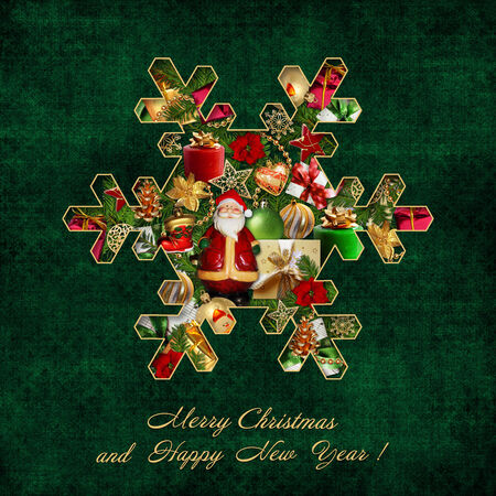 Christmas decorations in the form of snowflakes on green vintage background