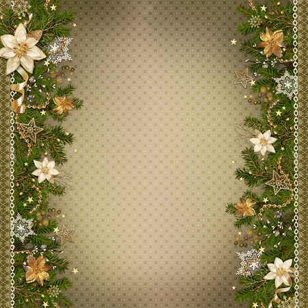 miraculous: Christmas miraculous garland on vintage background