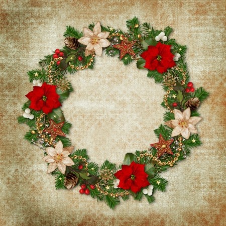 Christmas wreath on a vintage background
