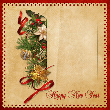 victorian christmas: Beautiful vintage background with Christmas decorations