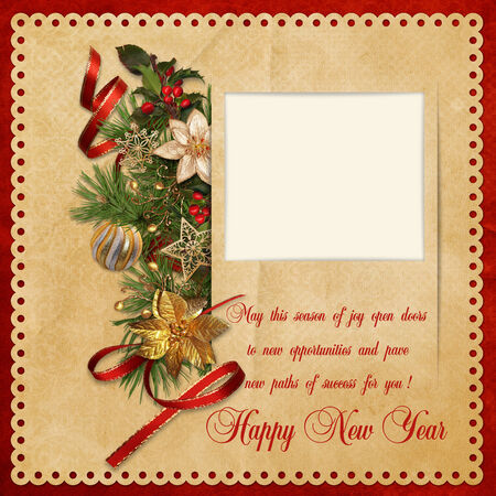 victorian christmas: Vintage background with Christmas decorations and the frame
