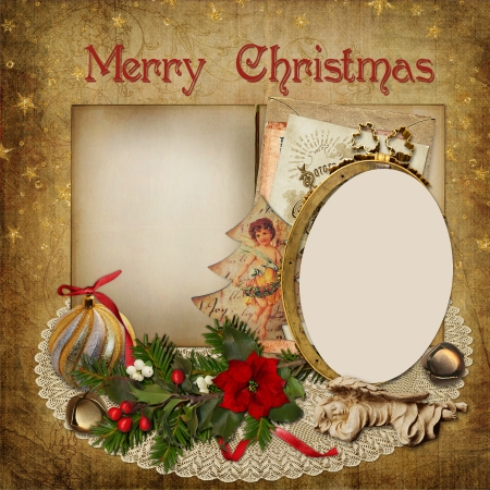 Christmas greeting card with frame, decoration and space for text