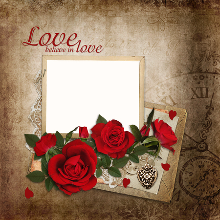old letters: Bouquet of red roses with frame and old letters on vintage background Stock Photo