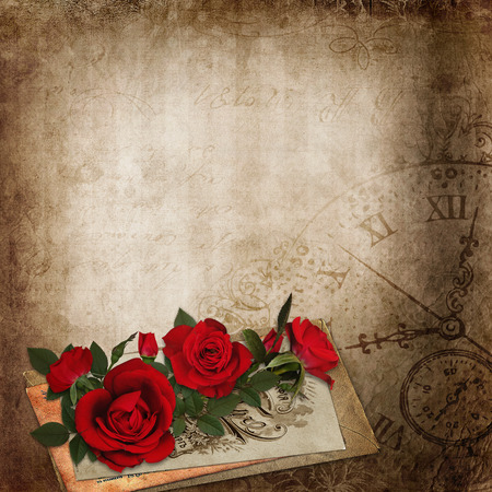 old letters: Red roses, old letters on the vintage shabby background