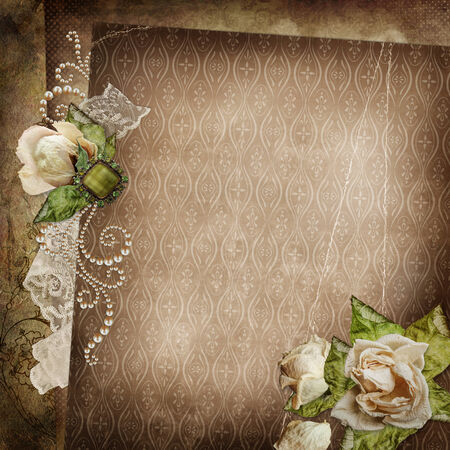 Vintage shabby background with faded roses, brooch and lace  photo